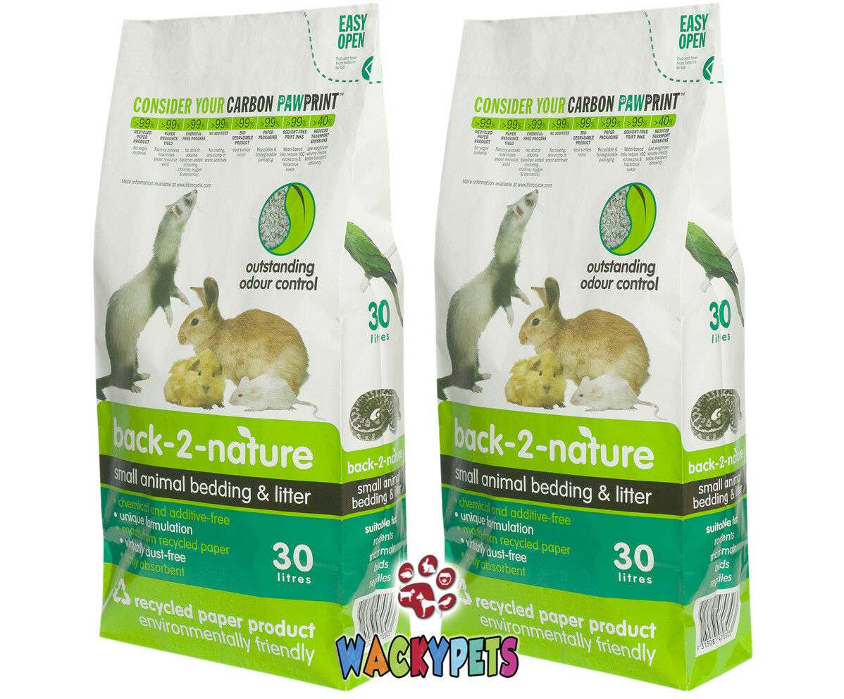 Back 2 Nature Small Animal Bedding and Litter 30L x 2. Recycled Bedding for Rabbit etc