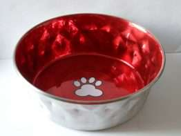 Classic Posh Paws Hammered Red Dog Bowl