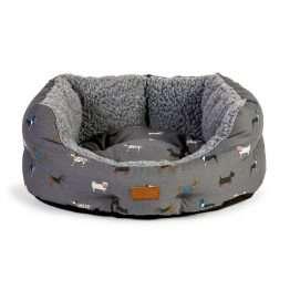 "FatFace 18 INCH DOG BED Danish Design Marching Dog Slumber, 18"" in Grey"
