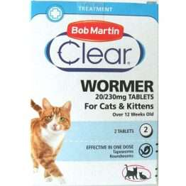 Bob Martin Clear 2in1 Wormer Tablets - Cats & Kittens, 2TABS