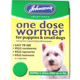 Johnsons One Dose Wormer Size 1 for Small Dogs up to 8kg