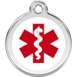 Medical Alert Tag Engraved Dog / Cat ID identity Tags / discs by Red Dingo