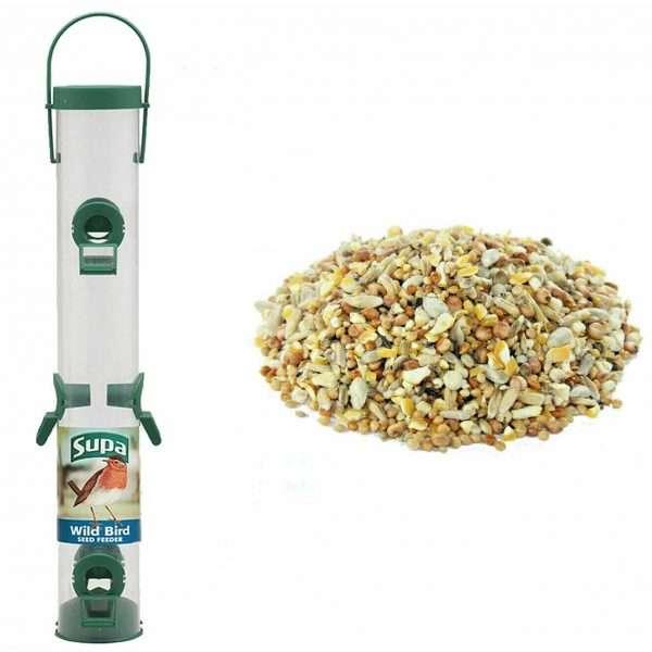 "SUPA 6 port 16"" Wild Bird Seed Feeder AND 1kg Bucktons"