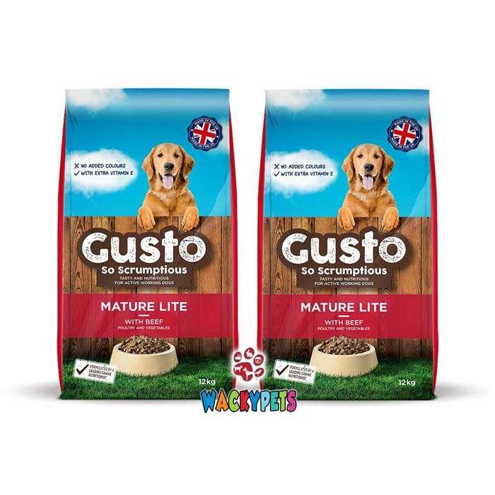 Gusto Mature Lite Dog Food 12kg x 1 or 2 Sacks – TWO SACKS