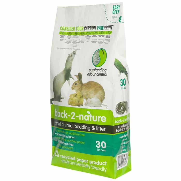 Back 2 Nature Small Animal Bedding and Litter 30L x 1. Recycled Bedding for Rabbit etc