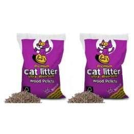 CJs Premium Wood Pellets Cat Litter 15L x 2