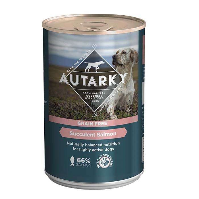 Autarky Grain Free Succulent Salmon with Veg Wet Dog Food 12 x 395g Cans
