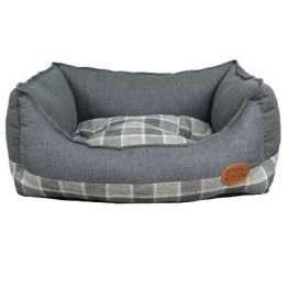 Snug & Cosy Grey Square Check Dog Bed 106cm